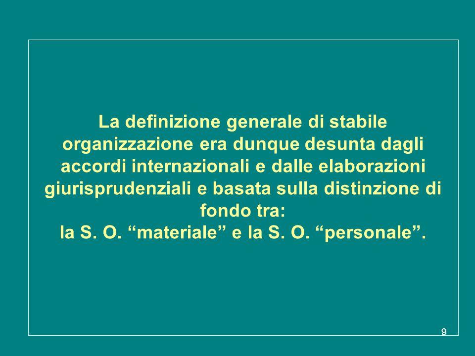 La definizione generale di stabile organizzazione era dunque desunta dagli accordi internazionali e dalle elaborazioni giurisprudenziali e basata sulla distinzione di fondo tra: la S.