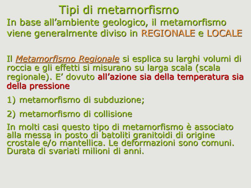 Tipi di metamorfismo In base all'ambiente geologico, il metamorfismo viene generalmente diviso in REGIONALE e LOCALE.