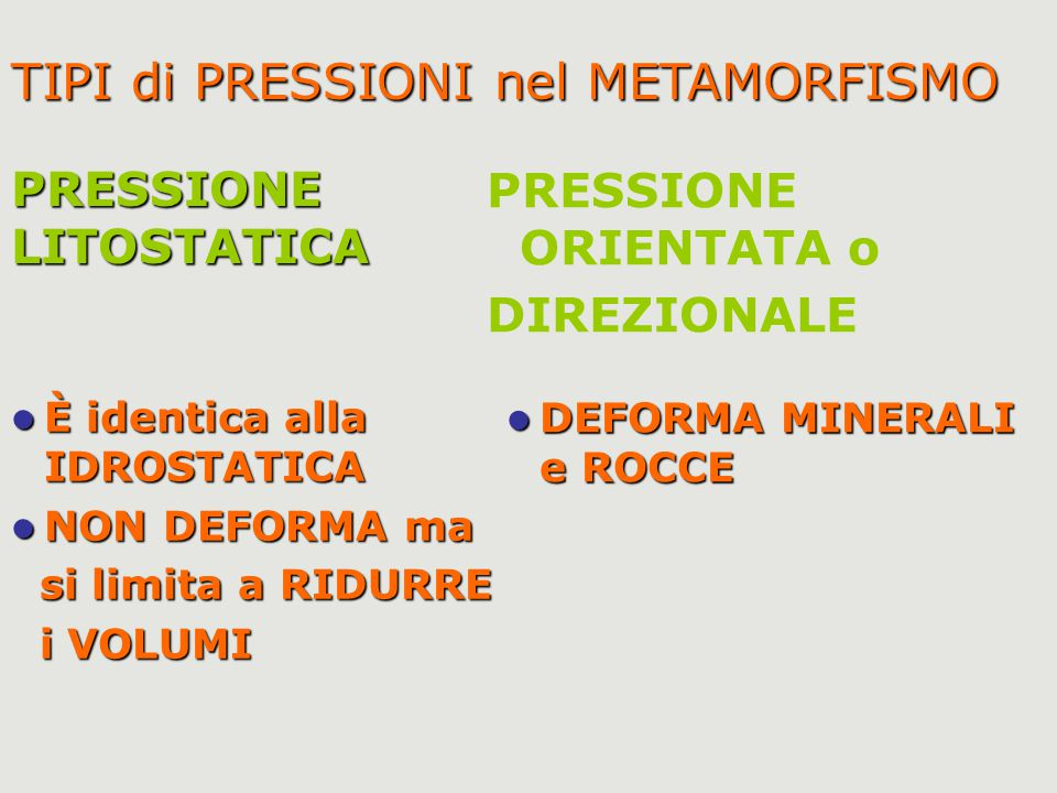 TIPI di PRESSIONI nel METAMORFISMO