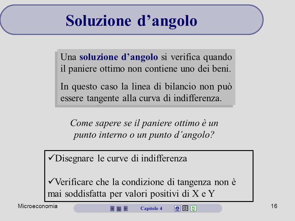 Soluzione d'angolo Una soluzione d'angolo si verifica quando il paniere ottimo non contiene uno dei beni.