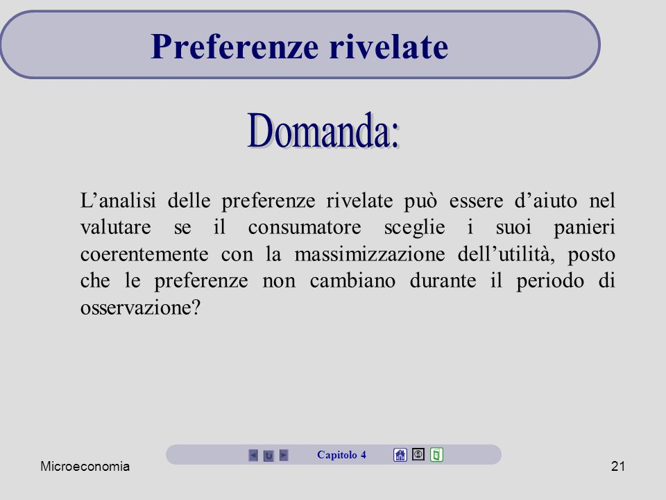 Preferenze rivelate Domanda: