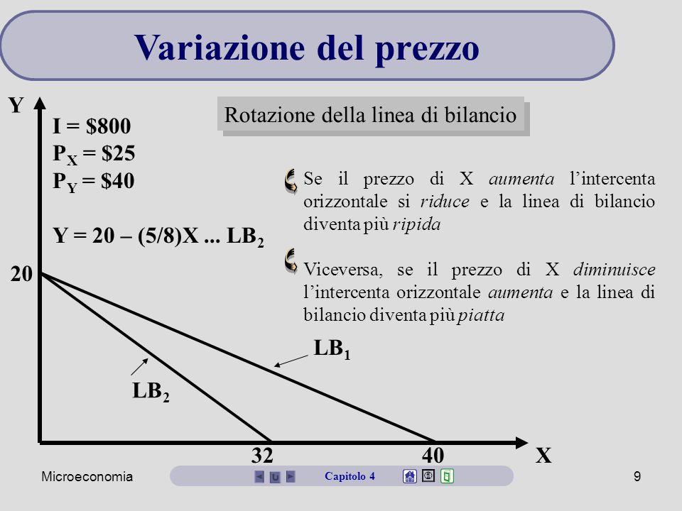 Variazione del prezzo Y Rotazione della linea di bilancio I = $800