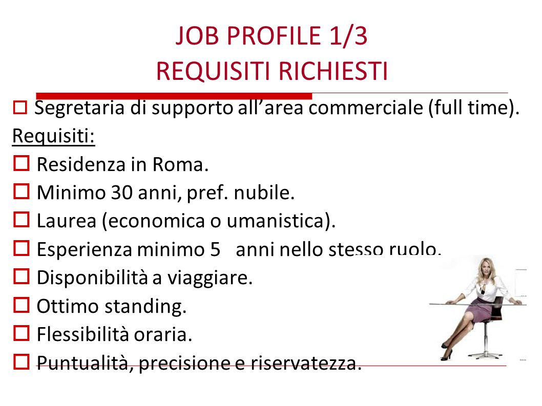 JOB PROFILE 1/3 REQUISITI RICHIESTI