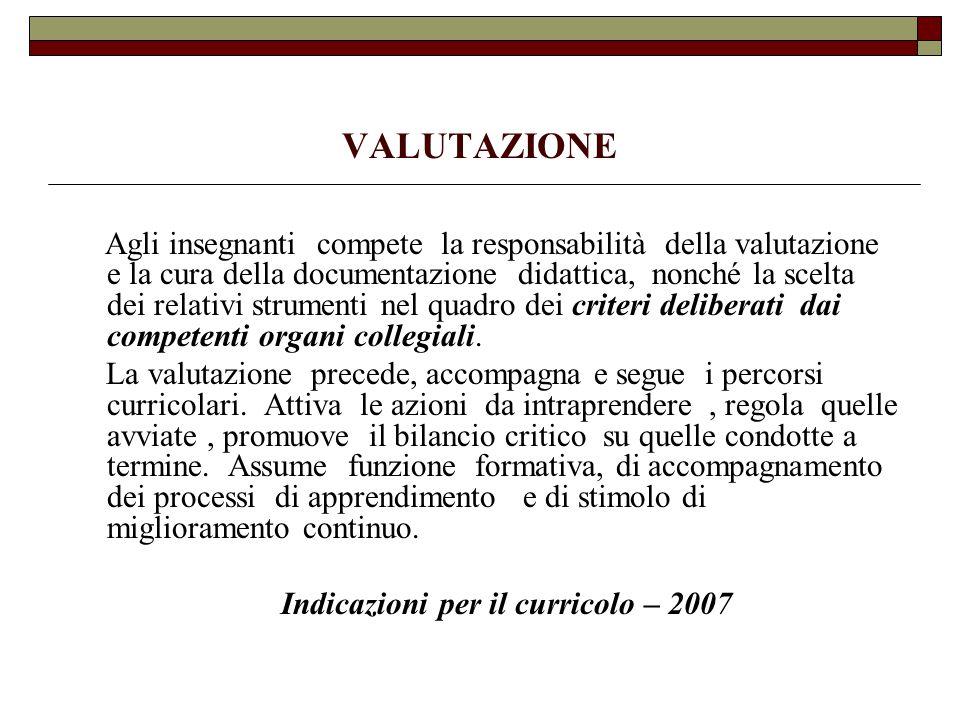 Indicazioni per il curricolo – 2007