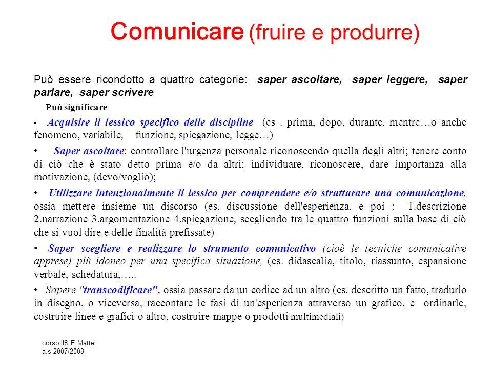 Comunicare (fruire e produrre)