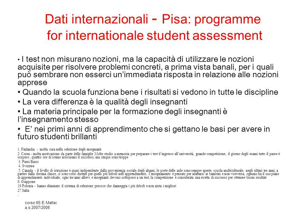 Dati internazionali - Pisa: programme for internationale student assessment
