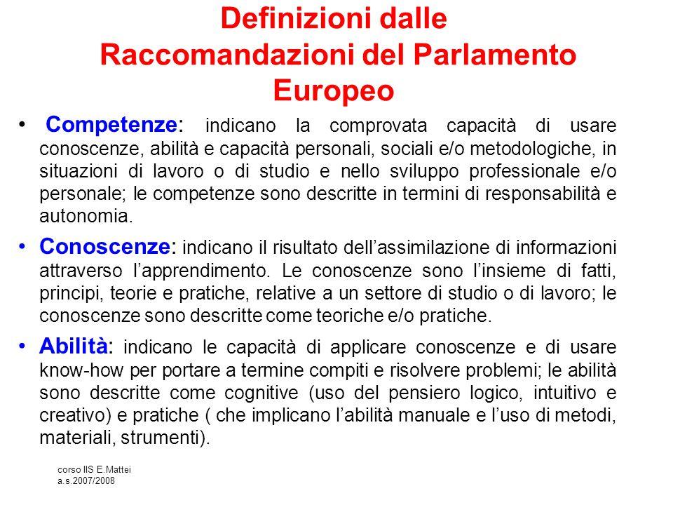 Definizioni dalle Raccomandazioni del Parlamento Europeo