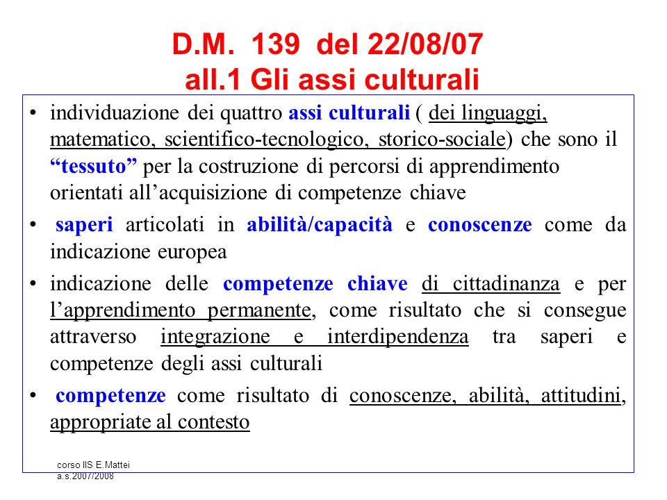 D.M. 139 del 22/08/07 all.1 Gli assi culturali