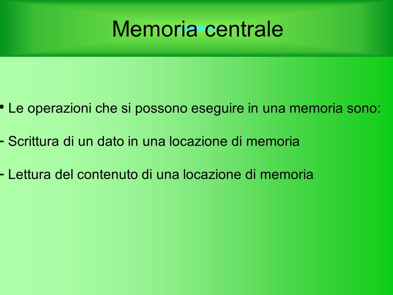 Memoria centrale Le operazioni che si possono eseguire in una memoria sono: Scrittura di un dato in una locazione di memoria.