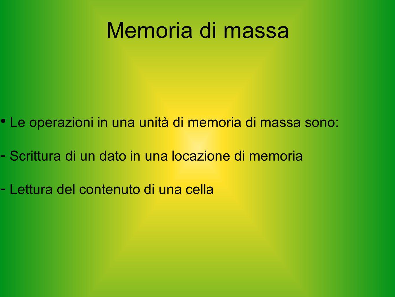 Memoria di massa Le operazioni in una unità di memoria di massa sono: