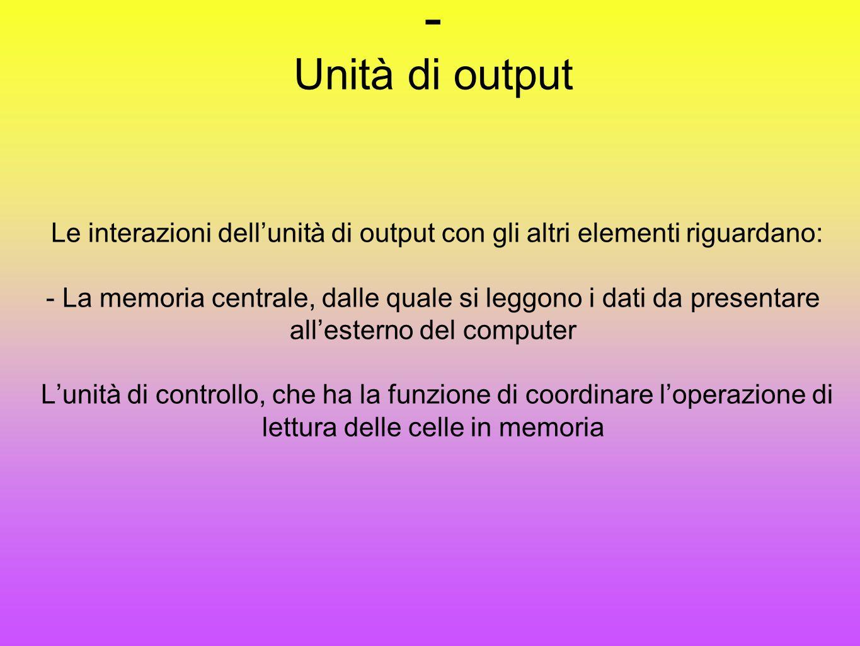 Unità di output Le interazioni dell'unità di output con gli altri elementi riguardano: - La memoria centrale, dalle quale si leggono i dati da presentare all'esterno del computer L'unità di controllo, che ha la funzione di coordinare l'operazione di lettura delle celle in memoria