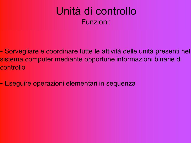 Unità di controllo Funzioni: