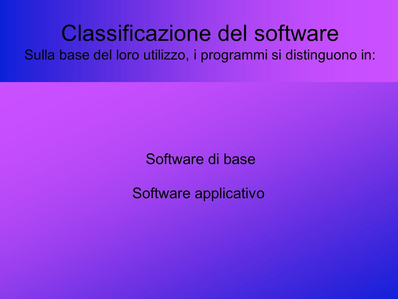 Classificazione del software Sulla base del loro utilizzo, i programmi si distinguono in: