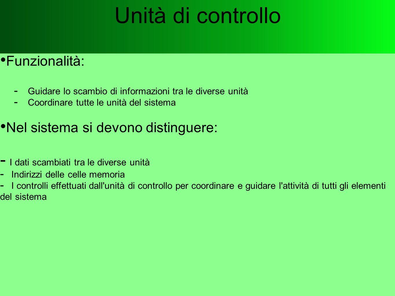 Unità di controllo Funzionalità: Nel sistema si devono distinguere: