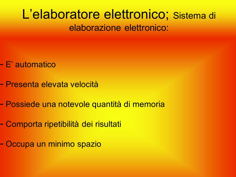 L'elaboratore elettronico; Sistema di elaborazione elettronico: