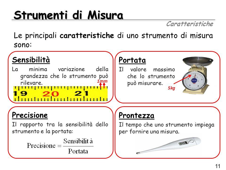 Strumenti di Misura Caratteristiche. Le principali caratteristiche di uno strumento di misura sono: