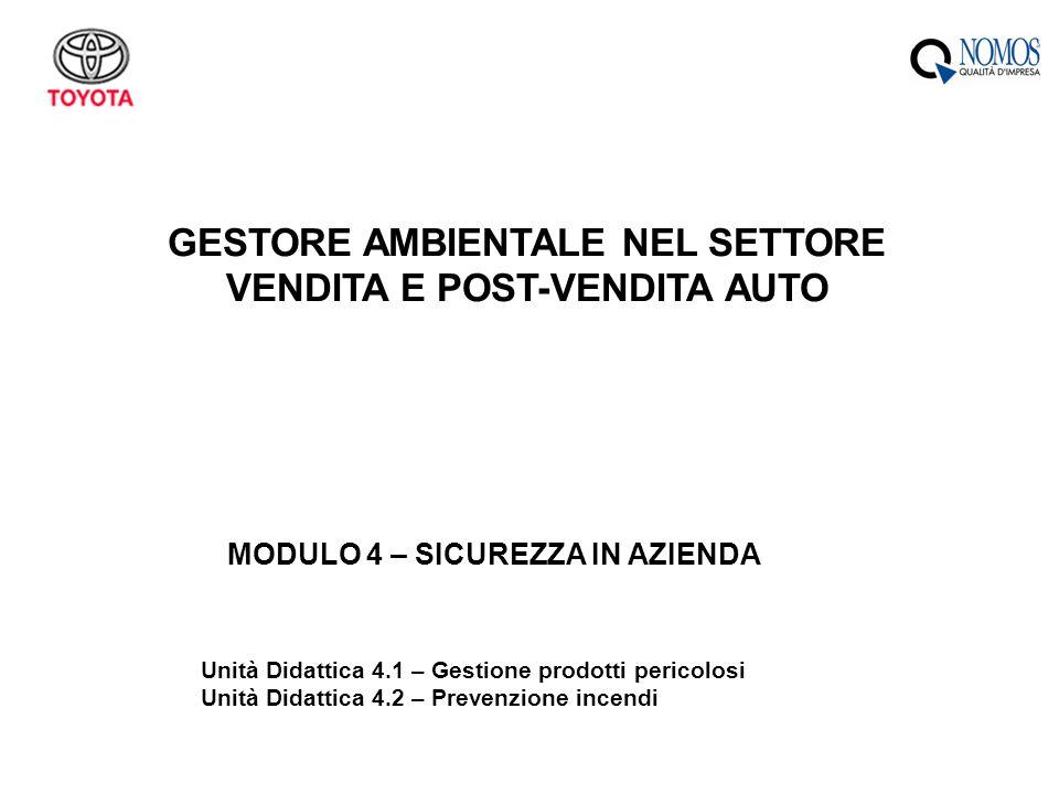 GESTORE AMBIENTALE NEL SETTORE VENDITA E POST-VENDITA AUTO
