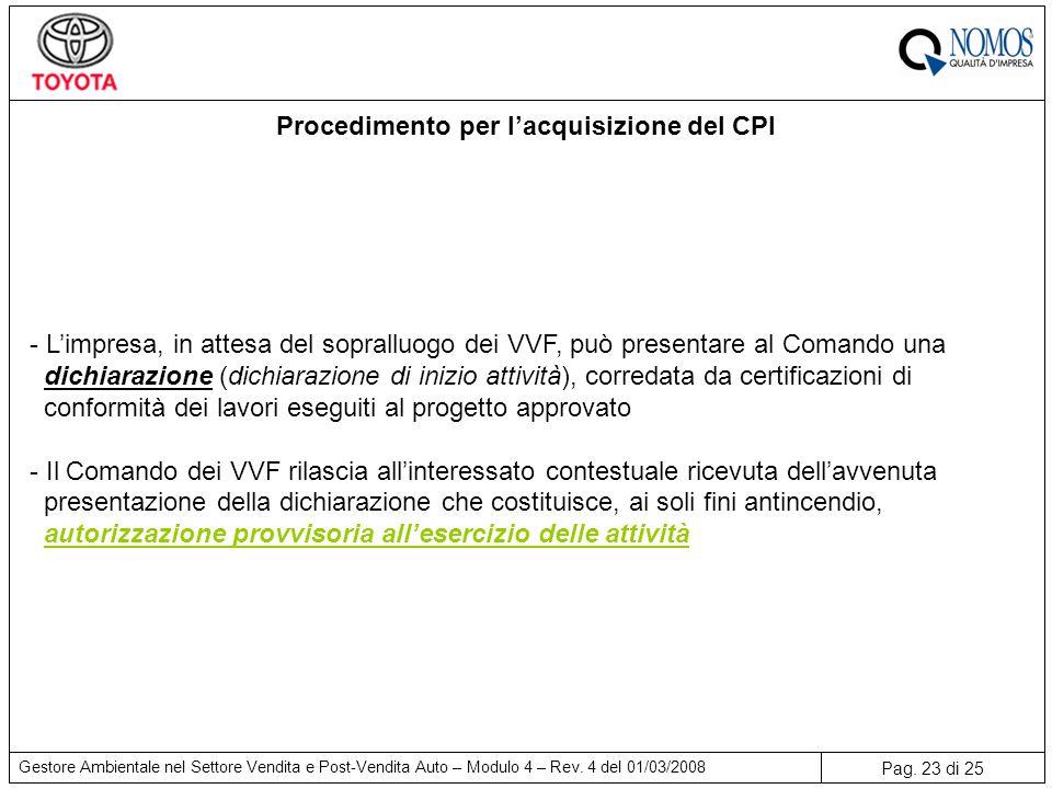 Procedimento per l'acquisizione del CPI