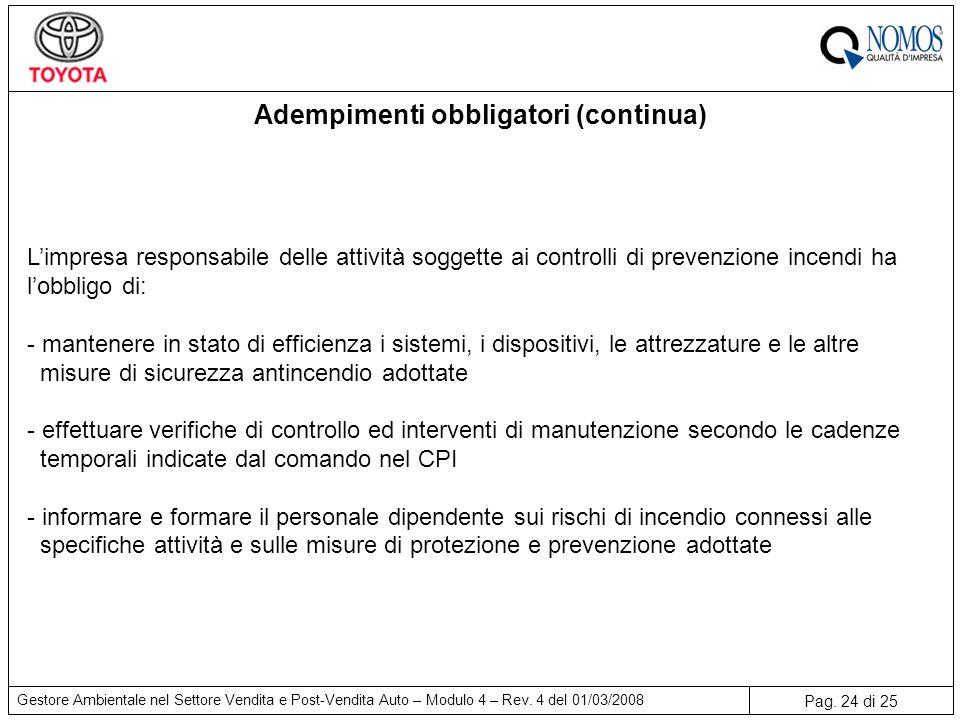 Adempimenti obbligatori (continua)