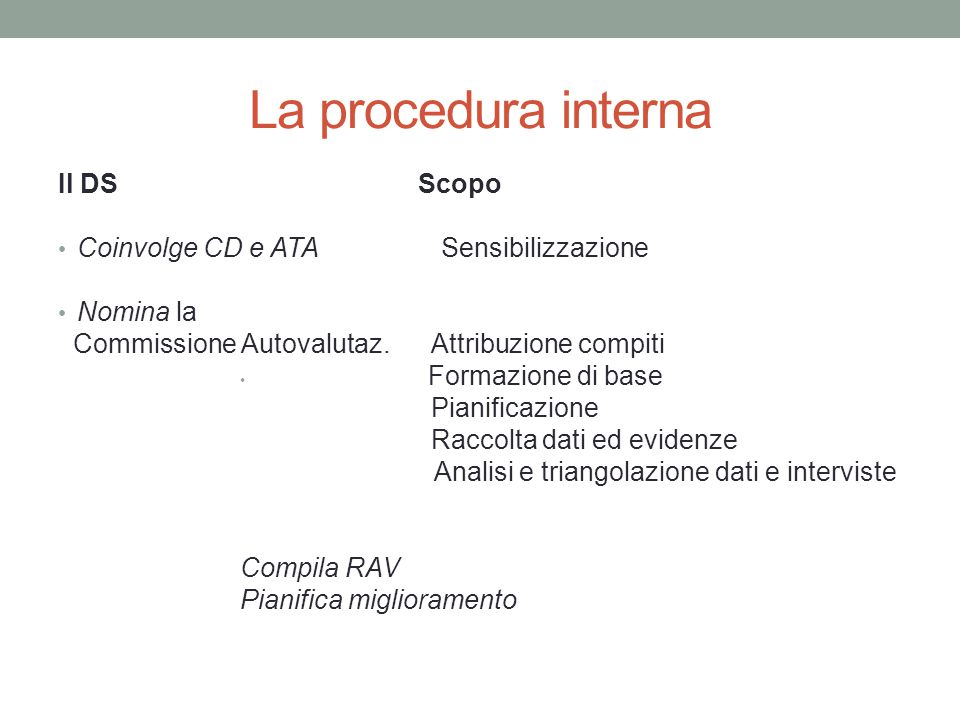 La procedura interna Il DS Scopo Coinvolge CD e ATA Sensibilizzazione