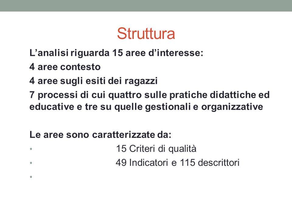 Struttura L'analisi riguarda 15 aree d'interesse: 4 aree contesto
