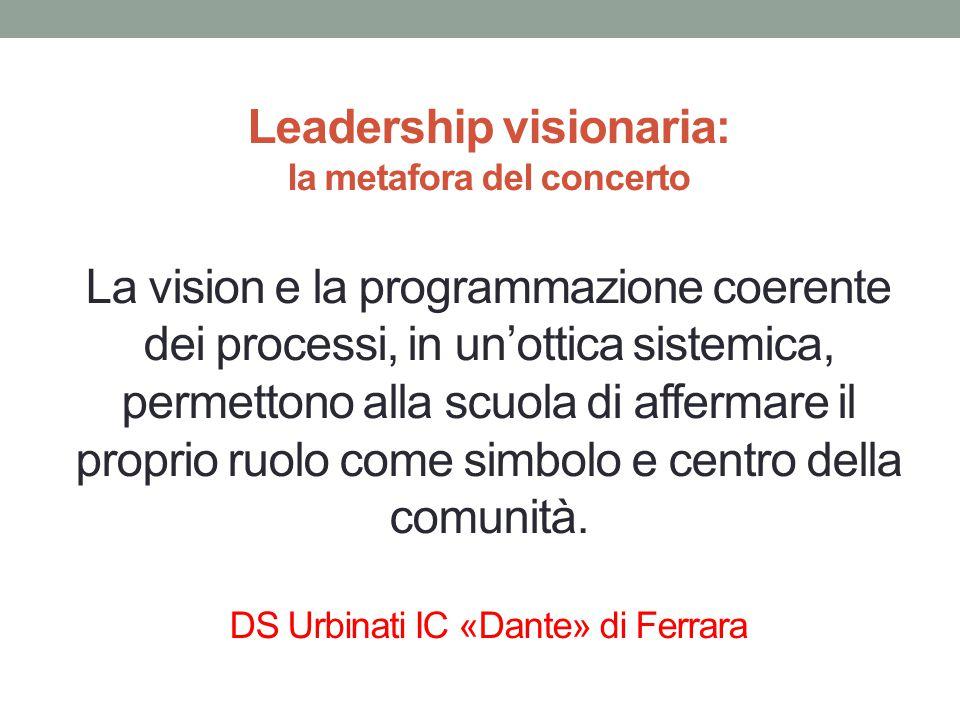 Leadership visionaria: la metafora del concerto La vision e la programmazione coerente dei processi, in un'ottica sistemica, permettono alla scuola di affermare il proprio ruolo come simbolo e centro della comunità.