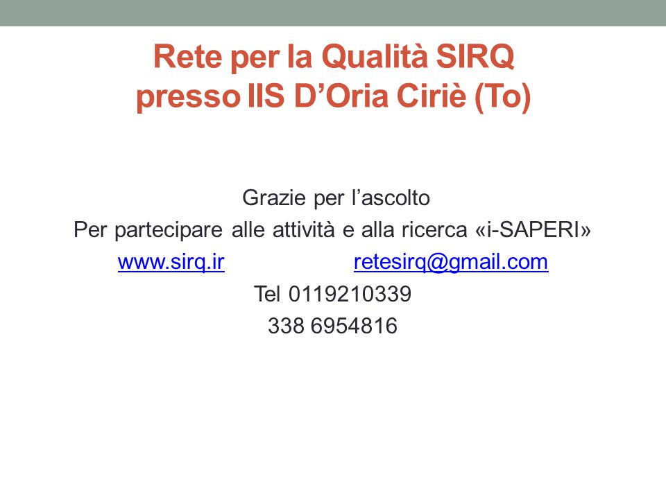 Rete per la Qualità SIRQ presso IIS D'Oria Ciriè (To)