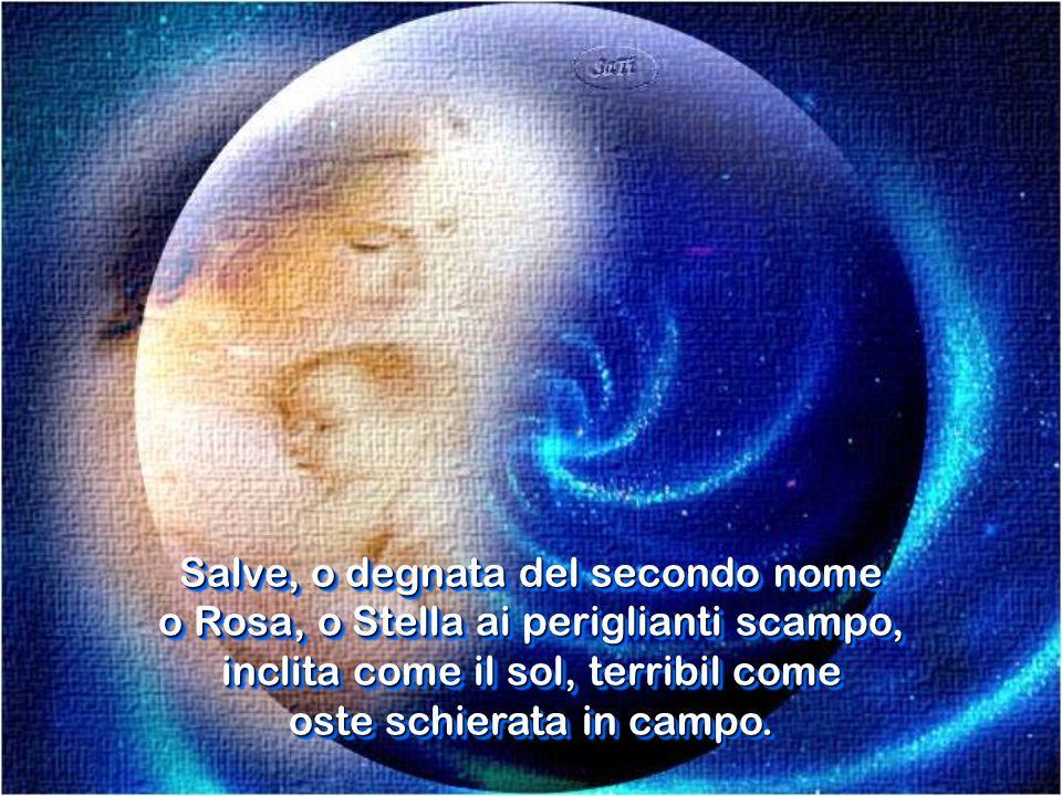 Salve, o degnata del secondo nome o Rosa, o Stella ai periglianti scampo, inclita come il sol, terribil come oste schierata in campo.