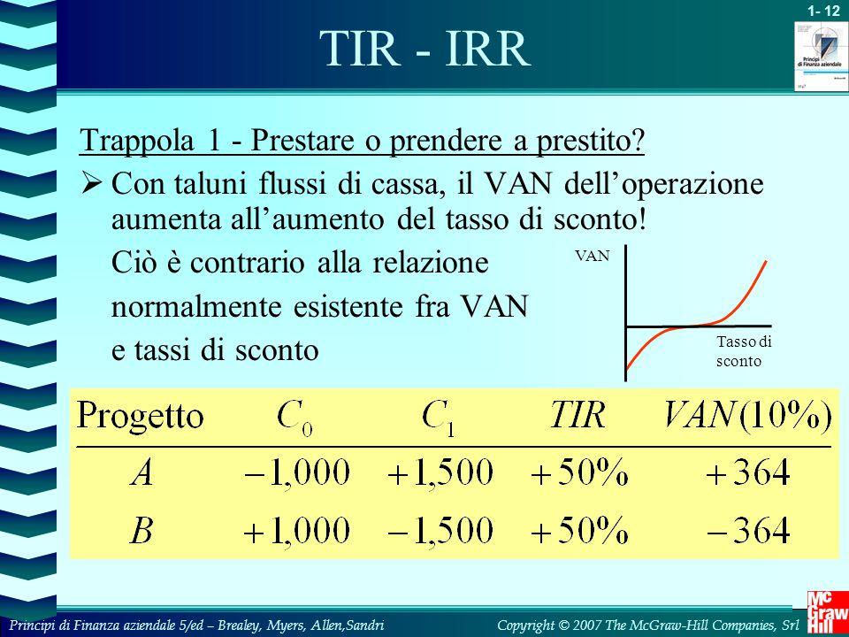 TIR - IRR Trappola 1 - Prestare o prendere a prestito