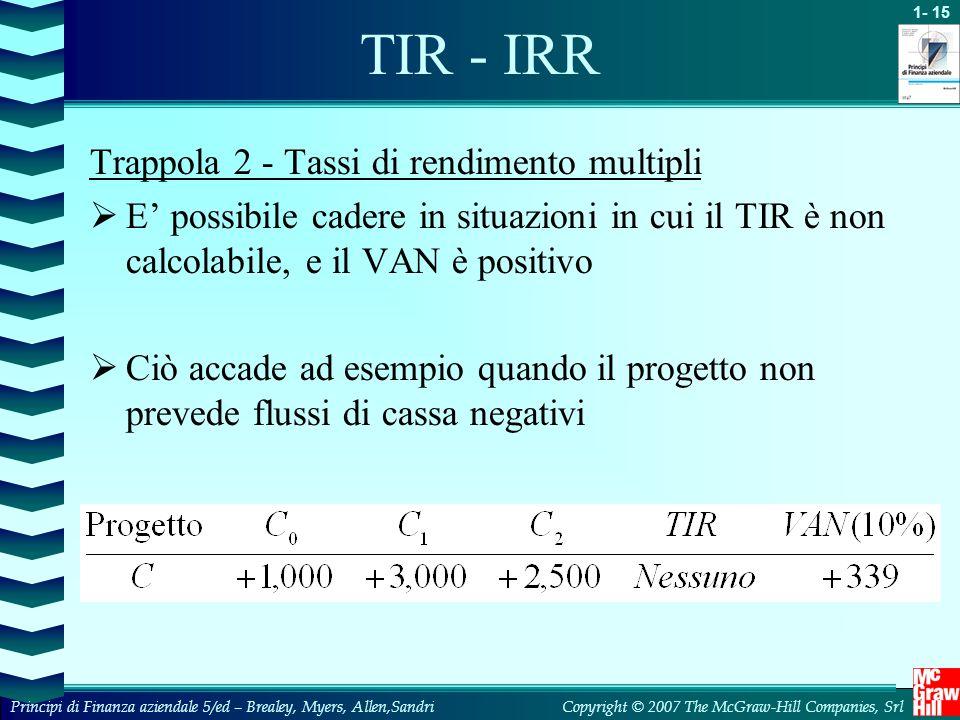 TIR - IRR Trappola 2 - Tassi di rendimento multipli