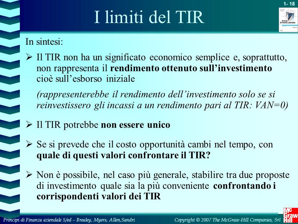I limiti del TIR In sintesi: