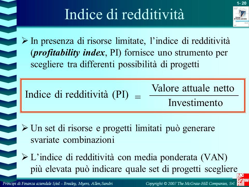 Indice di redditività Valore attuale netto Indice di redditività (PI)