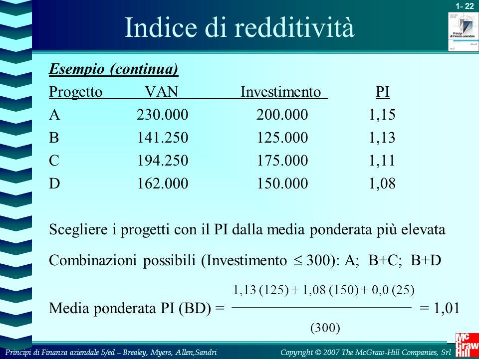 Indice di redditività Esempio (continua) Progetto VAN Investimento PI