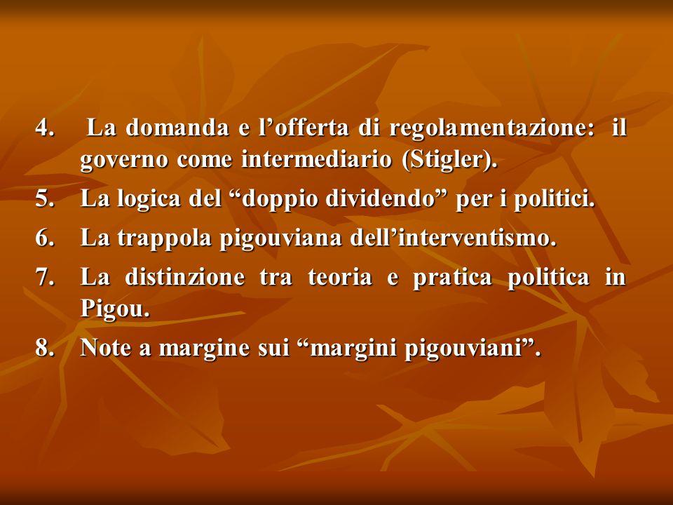 La domanda e l'offerta di regolamentazione: il governo come intermediario (Stigler).