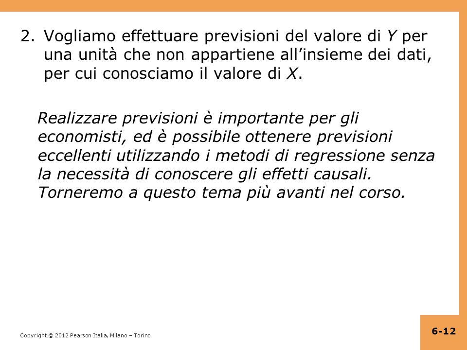 Vogliamo effettuare previsioni del valore di Y per una unità che non appartiene all'insieme dei dati, per cui conosciamo il valore di X.