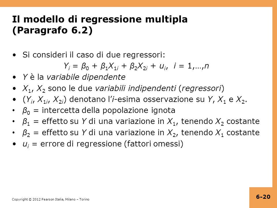 Il modello di regressione multipla (Paragrafo 6.2)