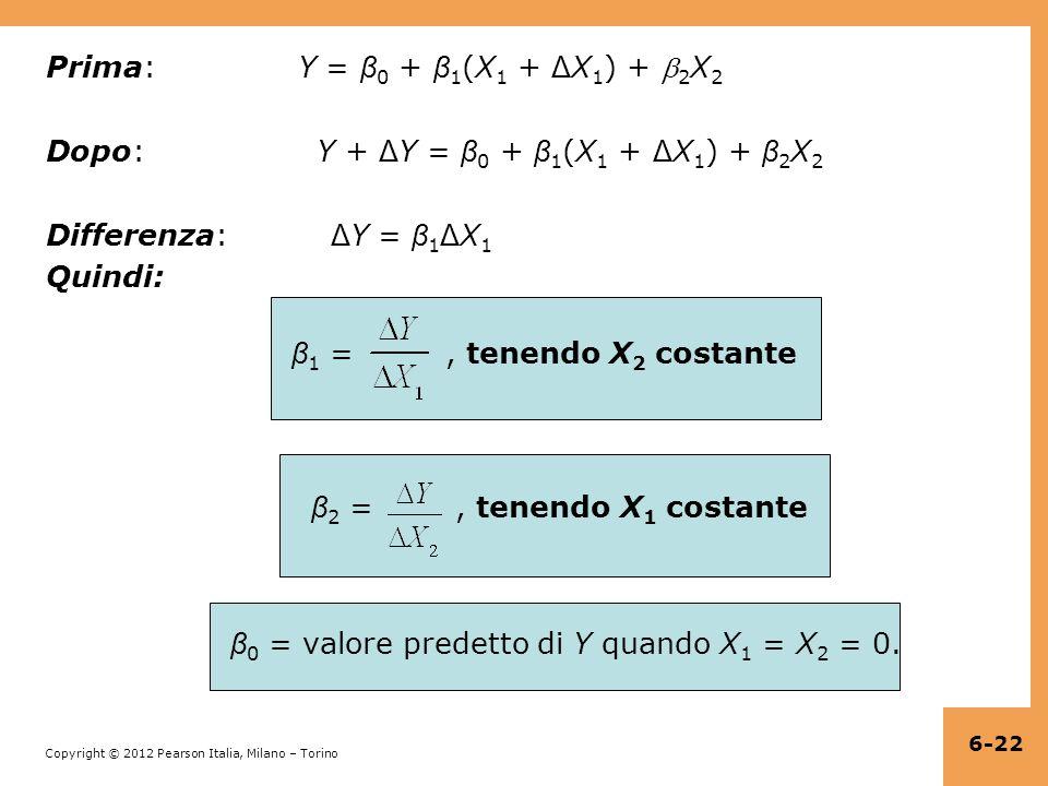 Prima: Y = β0 + β1(X1 + ΔX1) + 2X2 Dopo: Y + ΔY = β0 + β1(X1 + ΔX1) + β2X2 Differenza: ΔY = β1ΔX1 Quindi: β1 = , tenendo X2 costante β2 = , tenendo X1 costante β0 = valore predetto di Y quando X1 = X2 = 0.