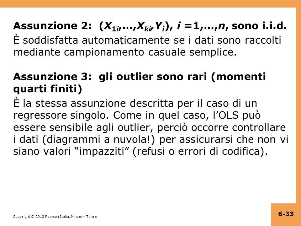 Assunzione 2: (X1i,…,Xki,Yi), i =1,…,n, sono i.i.d.