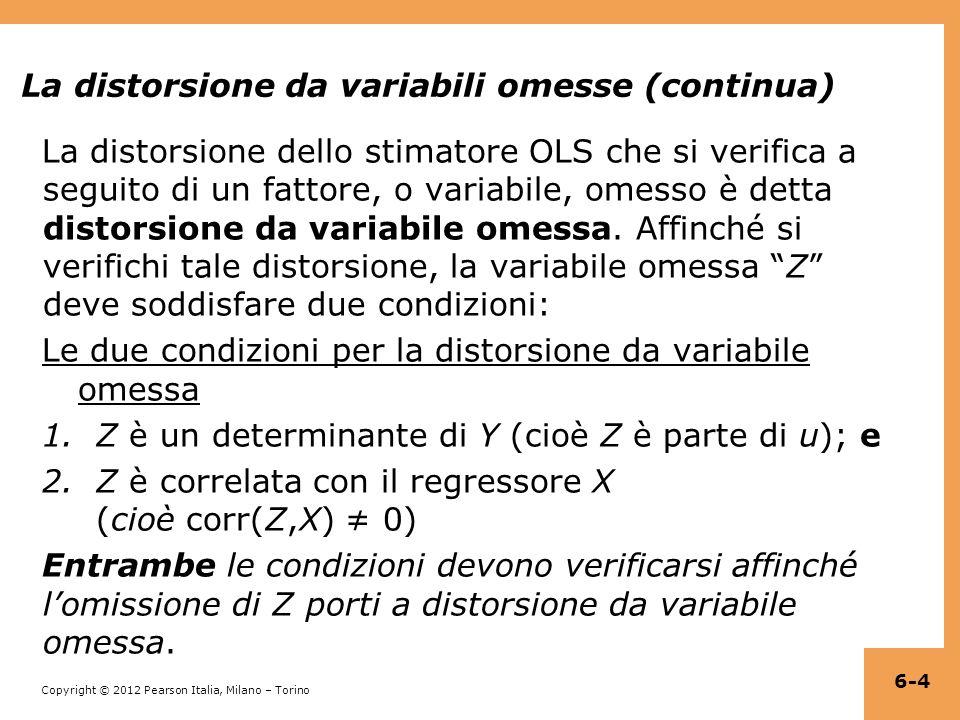 La distorsione da variabili omesse (continua)