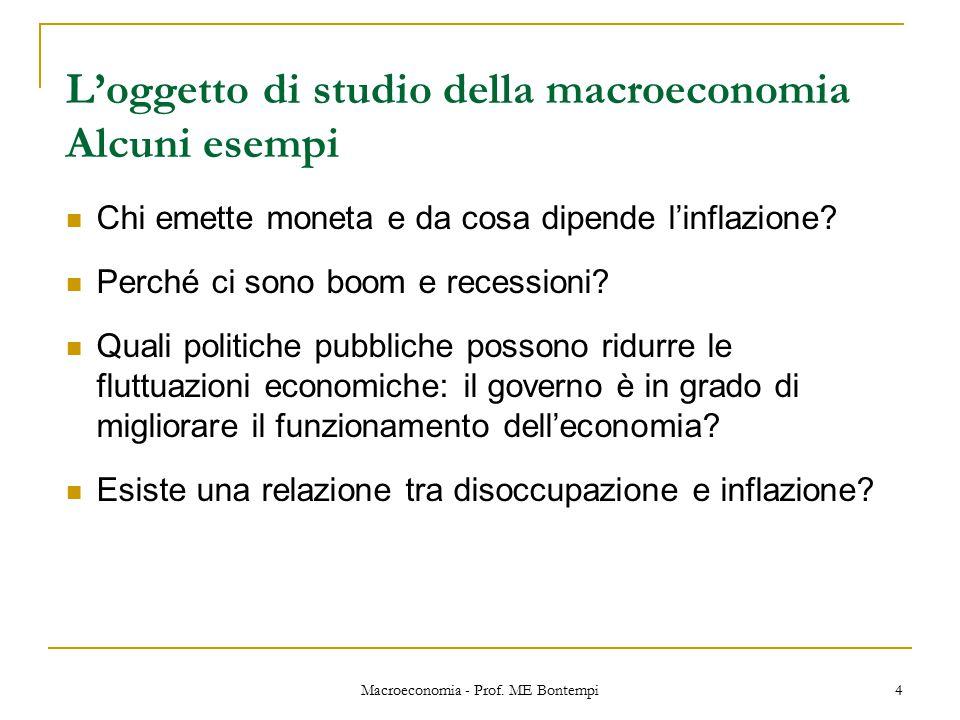 L'oggetto di studio della macroeconomia Alcuni esempi