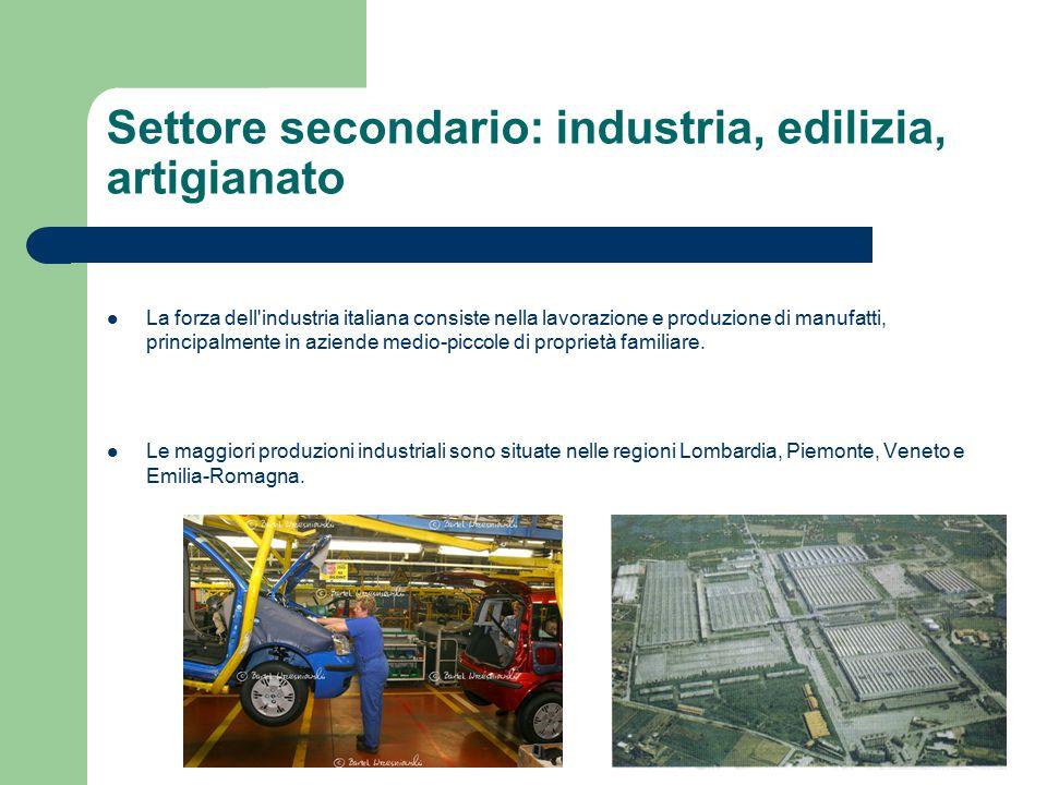 Settore secondario: industria, edilizia, artigianato