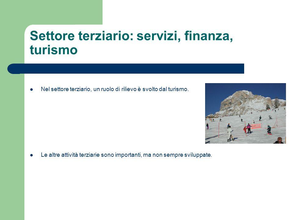 Settore terziario: servizi, finanza, turismo