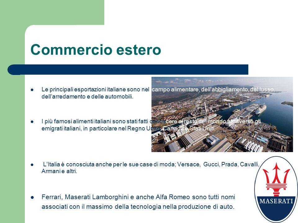 Commercio estero Le principali esportazioni italiane sono nel campo alimentare, dell abbigliamento, del lusso, dell'arredamento e delle automobili.
