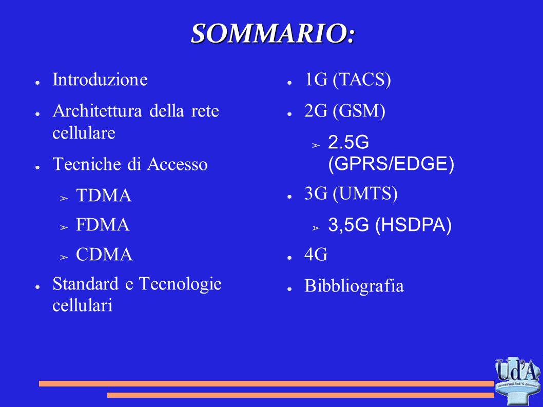 SOMMARIO: Introduzione Architettura della rete cellulare