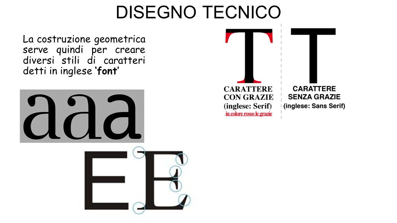 DISEGNO TECNICO La costruzione geometrica serve quindi per creare diversi stili di caratteri detti in inglese 'font'