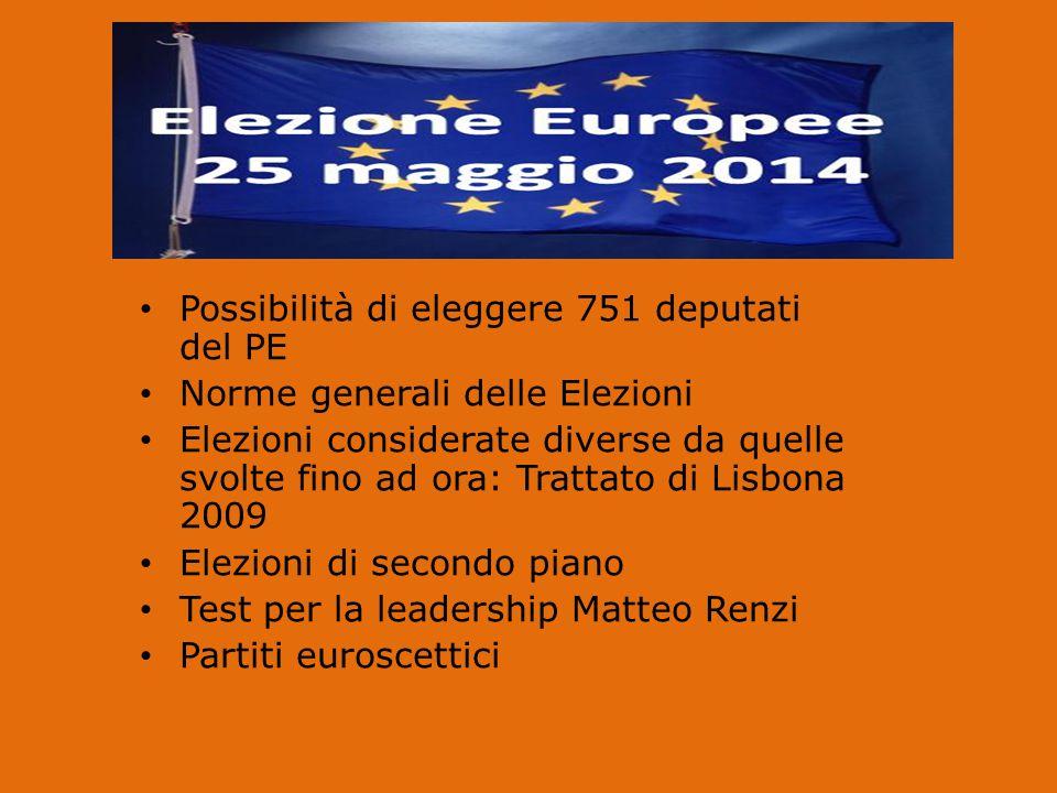 Possibilità di eleggere 751 deputati del PE