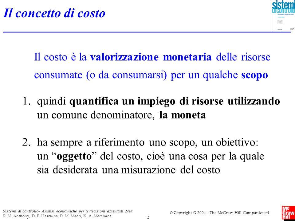 Il concetto di costo Il costo è la valorizzazione monetaria delle risorse consumate (o da consumarsi) per un qualche scopo.
