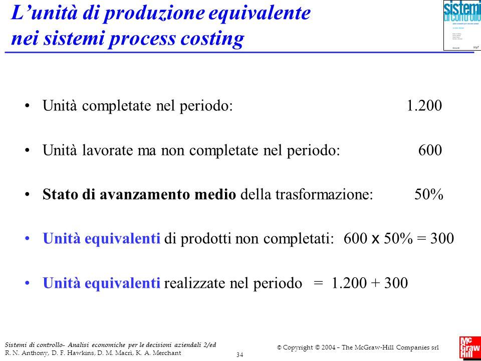 L'unità di produzione equivalente nei sistemi process costing