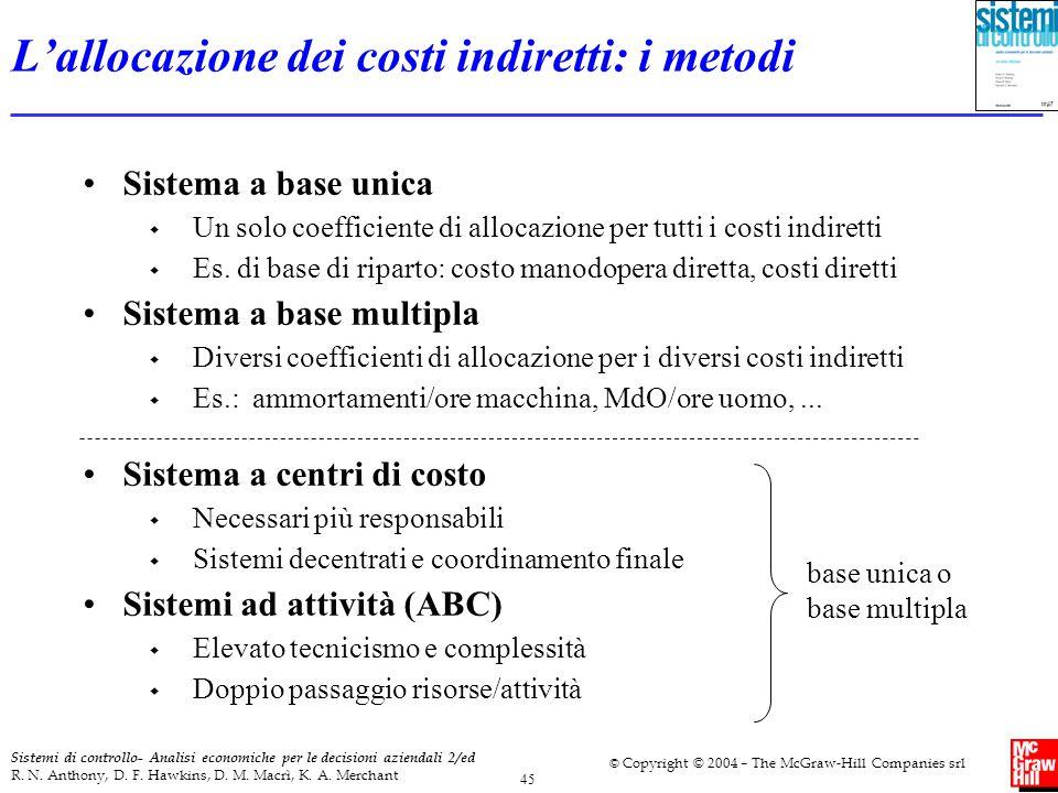 L'allocazione dei costi indiretti: i metodi