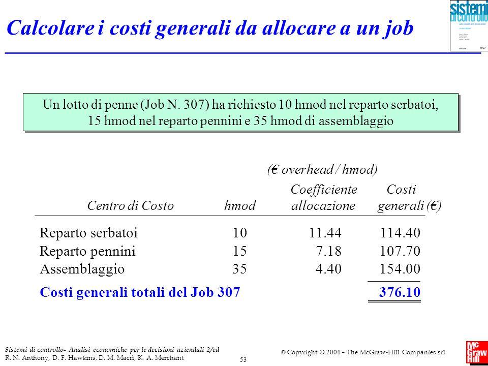 Calcolare i costi generali da allocare a un job